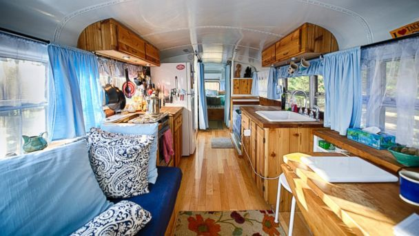 "This is the only school bus camper photo in the article.  I don't really care for the 221sq ft ""mansion."""