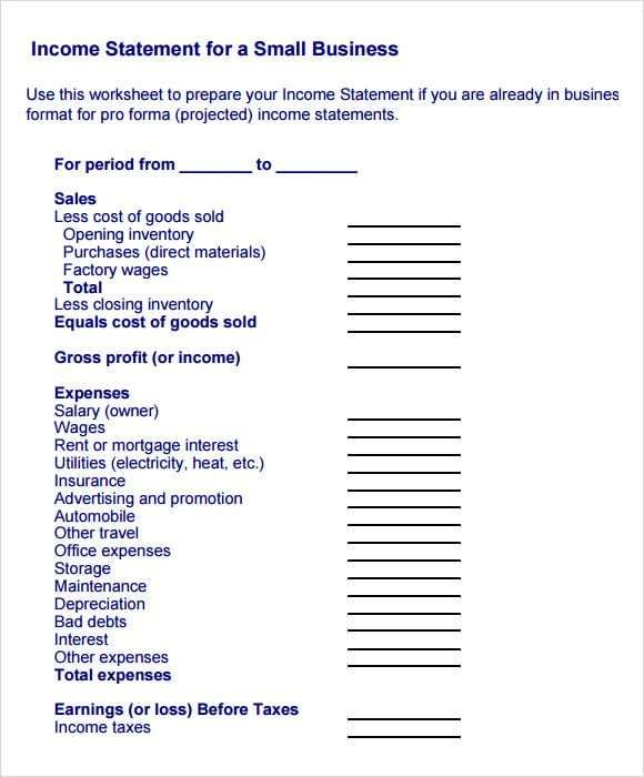 income statement template 7