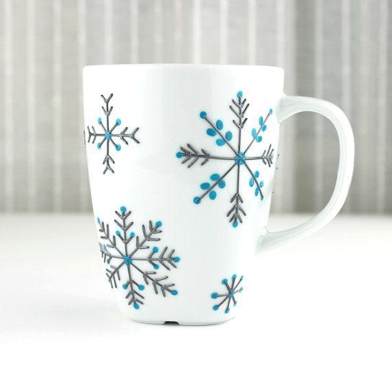 Hand Painted Porcelain Mug Snowflake Design Tea by witchcorner