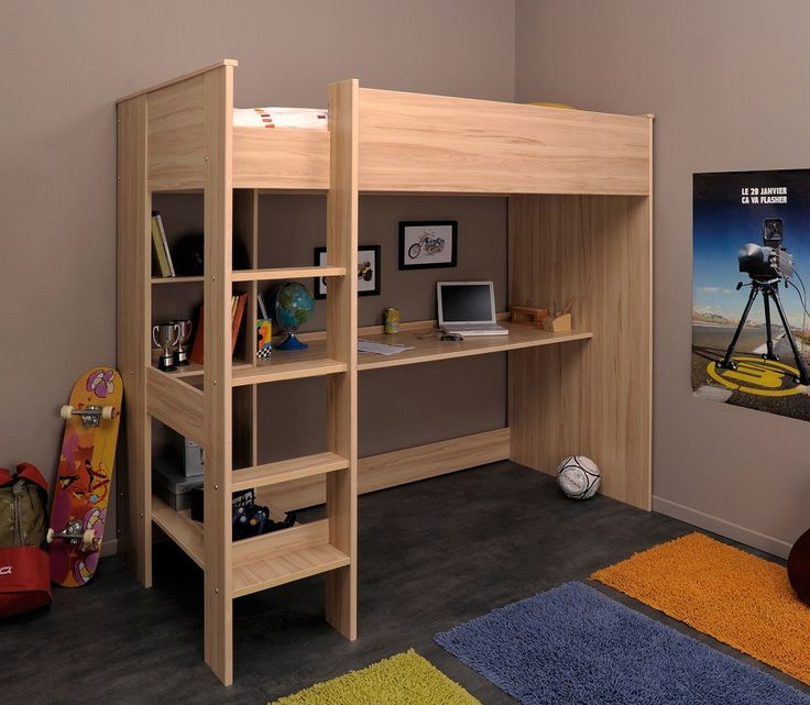 lit enfant mezzanine ethan 90x200 lit mezzanine enfant en bois imitation h tre lit fonctionnel. Black Bedroom Furniture Sets. Home Design Ideas
