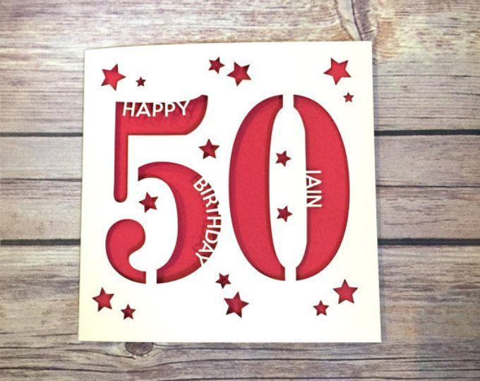 Personalised 50th Birthday Card Daddy Mummy Fifty Happy Gift Handmade Lasercut