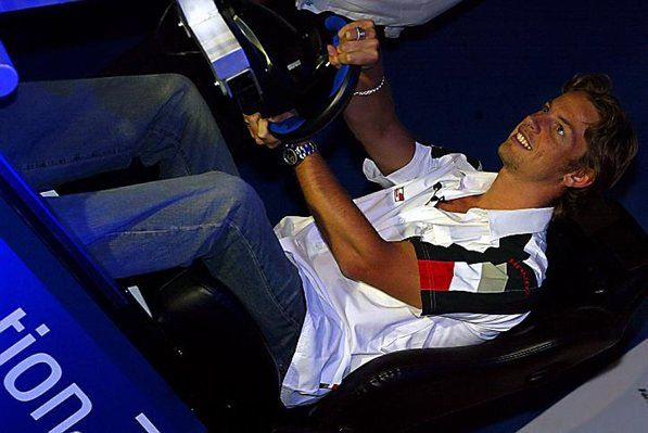 Jenson Button (GBR) BAR takes part in a head to head challenge with Fernando Alonso (ESP) Renault at the launch of the new F1 2003 game for Playstation 2. Formula One World Championship, Rd9, European Grand Prix, Preparations, Nurburgring, Germany, 26 June 2003