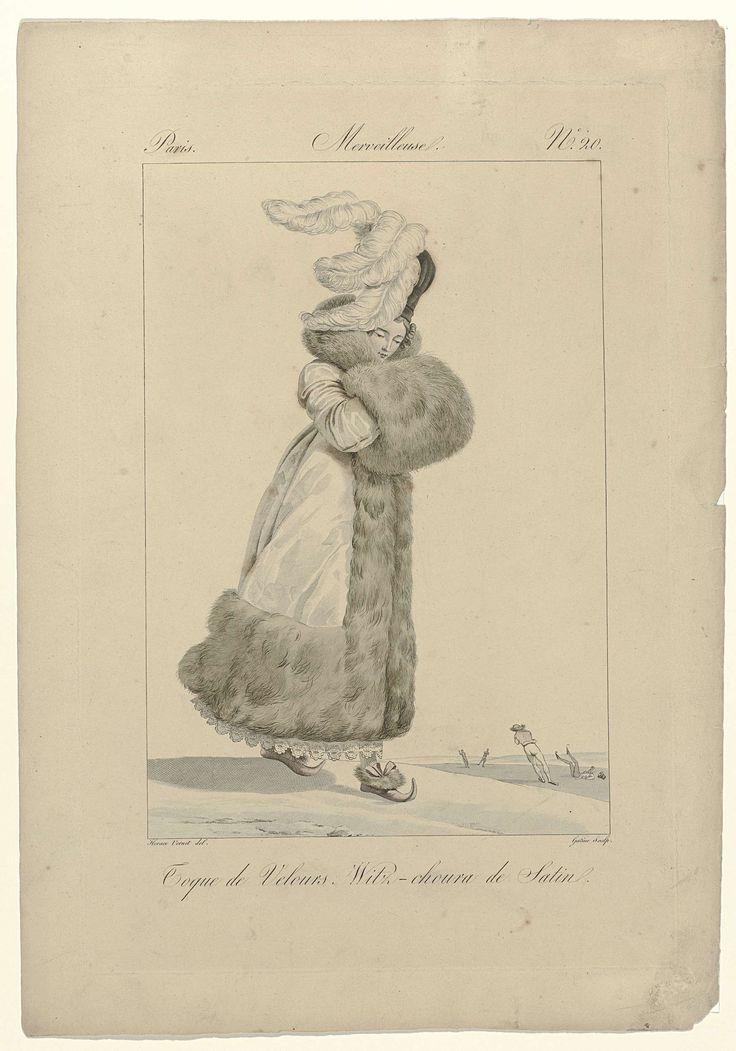 Georges Jacques Gatine | Incroyables et Merveilleuses, 1814, Merveilleuse, No. 20: Toque de Velours..., Georges Jacques Gatine, 1814 | 'Merveilleuse' met op het hoofd een 'toque' van fluweel versierd met struisveren. Zij draagt een 'witz-choura' (mantel) van satijn, afgezet met brede rand van bont. Rok met geschulpte zoom met bladmotief. De handen in een mof van bont. Schoenen met bont, strikken en spitse opwippende neuzen. Op de achtergrond schaatsende figuren. De prent maakt deel uit van…