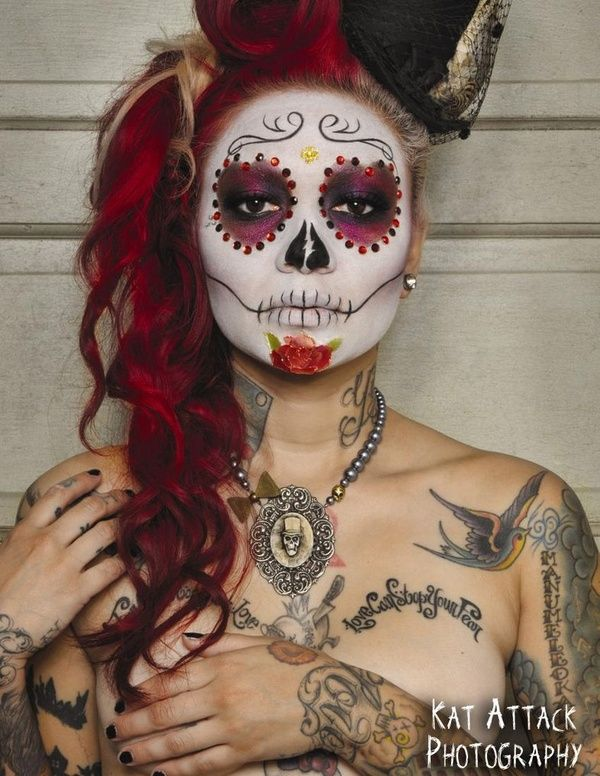 love day of the dead and the makeup, so doing something like this for Halloween this year.