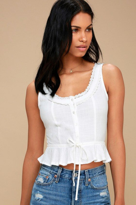8ccf4f55ee2 ALTHEA WHITE BUTTON-UP CROP TOP | Tops | Tops, Cute summer tops ...