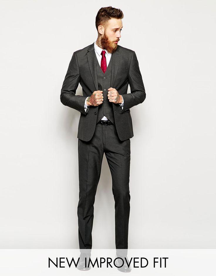 Image 1 ofASOS Slim Fit Suit Charcoal Pindot