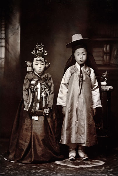 Korean children dressed for their wedding, 1916. Margaret G. Zackowitz