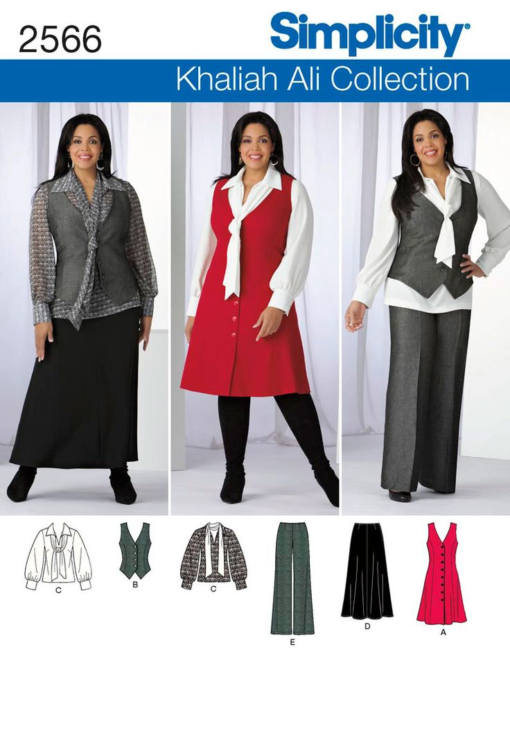 2566 Misses' & Plus Size Sportswear Misses' & Plus Size Khaliah Ali Collection pants skirt, blouse with tie and jumper or vest sewing pattern. See video tab for an in depth interview with Khaliah herself!