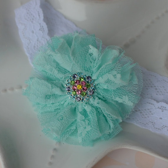 Aqua Lace and Tulle Sparkle Flower Lace Elastic by MyLittlePixies, $9.00