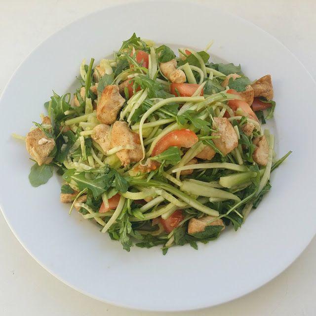 Gurkennudeln-Putenbrust-Salat als Mittagesssen in The Modern Crash Diet von Julian Zietlow. Rezept darf ich leider nicht verraten. Aber dir meine Erfahrung mitteilen....:-)