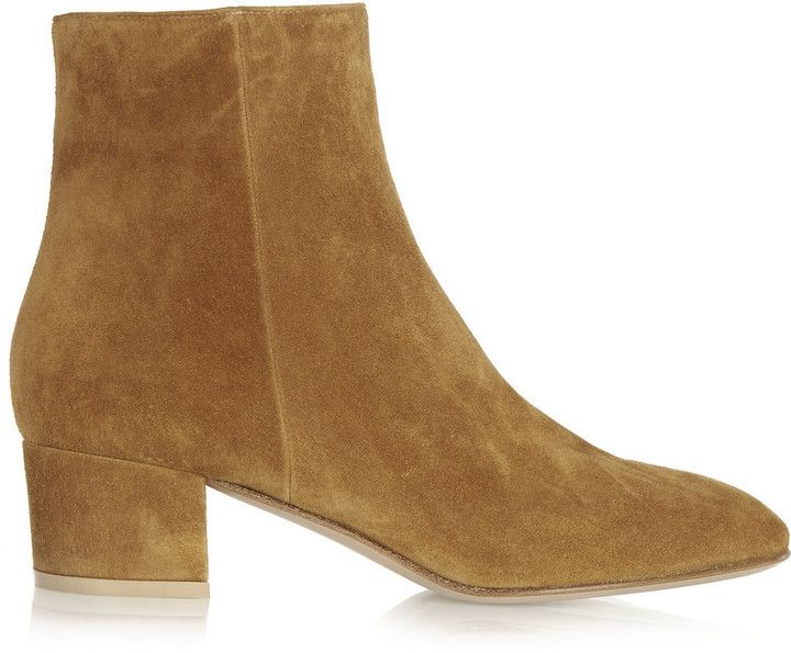 $950, Gianvito Rossi Suede Ankle Boots. Sold by NET-A-PORTER.COM. Click for more info: https://lookastic.com/women/shop_items/310608/redirect