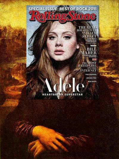 Adele and Monalisa - Eisen Bernard Bernardo's quirky art merges paintings with magazine covers