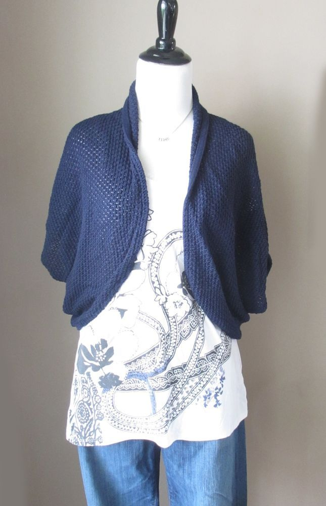 Vince Camuto Navy Blue Knit Shrug, Short Sleeve Clam Shell Sweater ...