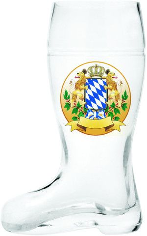 Glass Beer Boot: Bayern Coat of Arms
