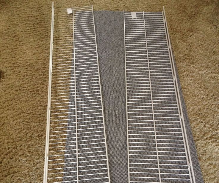 DIY Pet Ramp - made from 2 pieces wire shelving, indoor/outdoor carpeting, zipties, wire cutter, and an awl