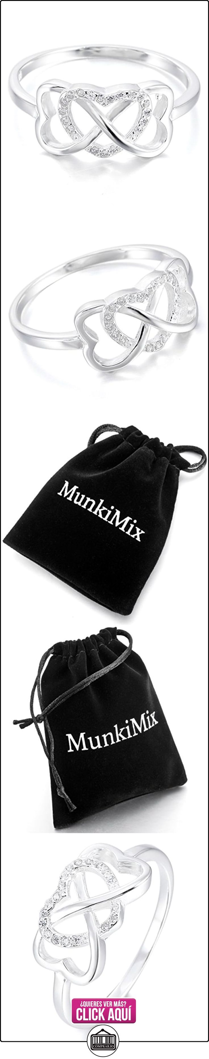 MunkiMix 925 Plata Anillo Ring Cz Cubic Zirconia Circonita Plata Infinito Infinity Corazón Heart Alianzas Boda Talla Tamaño 15 Mujer  ✿ Joyas para mujer - Las mejores ofertas ✿ ▬► Ver oferta: http://comprar.io/goto/B00EWH0F8Y