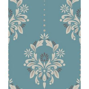 dulux feature antoinette wallpaper peacock from homebase