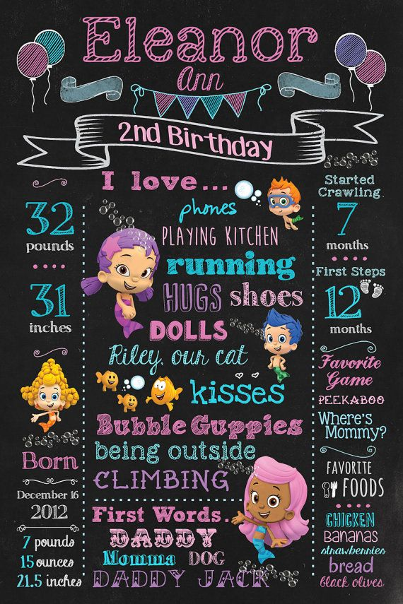 BUBBLE GUPPIES Chalkboard Birthday Sign for by OceanBlueDesign