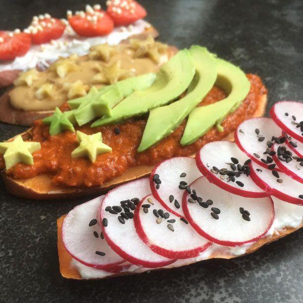 Vegan lunch en ontbijt recept voor zoete aardappel toast