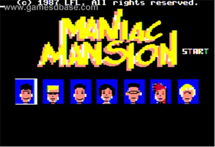 Title screen of Maniac Mansion on the Apple II.