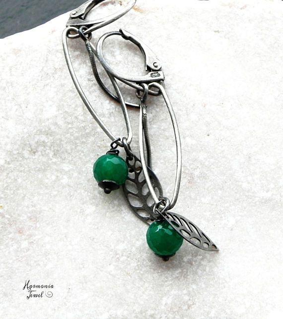 Brincos de Ónix Verde e Prata de Lei Oxidada, Delicados Brincos de Prata com Folhas, Brincos com Gemas Verdes, ônix verde, Brincos Mulher