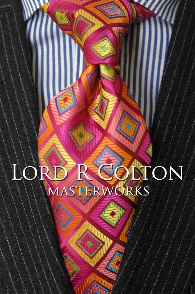 Lord R Colton Masterworks Tie - Guatape Pink Lime Woven Silk Necktie - $195 New #LordRColton #NeckTie