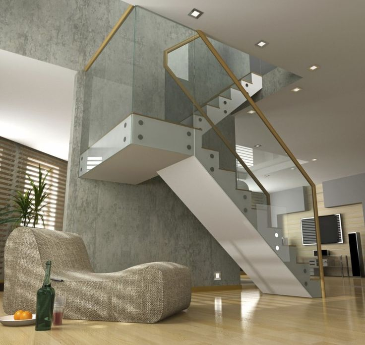 Staircase Wall With Glass Balustrade Design 12