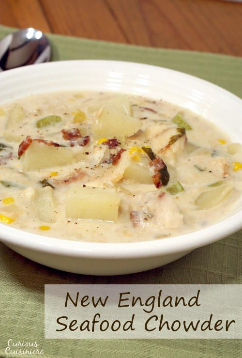 This recipe for New England Seafood Chowder creates a versatile and tasty soup, perfect for a cold winter day. #SundaySupper www.curiouscuisiniere.com