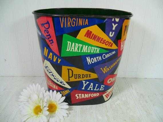 Vintage College Pennants Lithograph Metal Waste Can - Retro Collegiate Multicolor Design Bin - Vintage Colorful Flags Dorm Room Trash Basket by DivineOrders