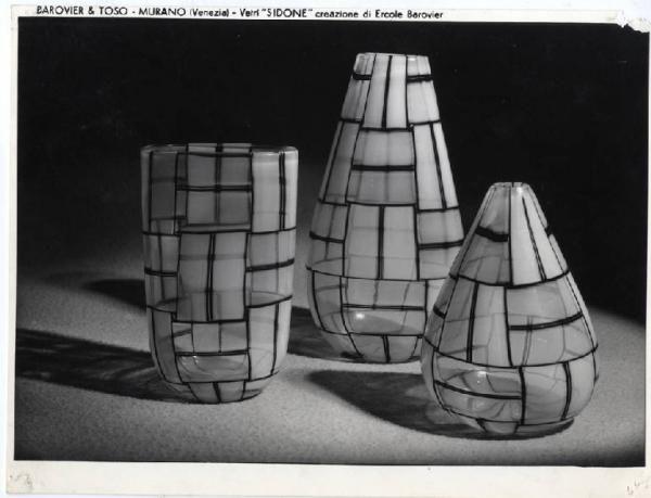 ERCOLE BAROVIER XI Triennale - Mostra delle Produzioni d'arte - Sezione del vetro - Vasi in vetro colorato