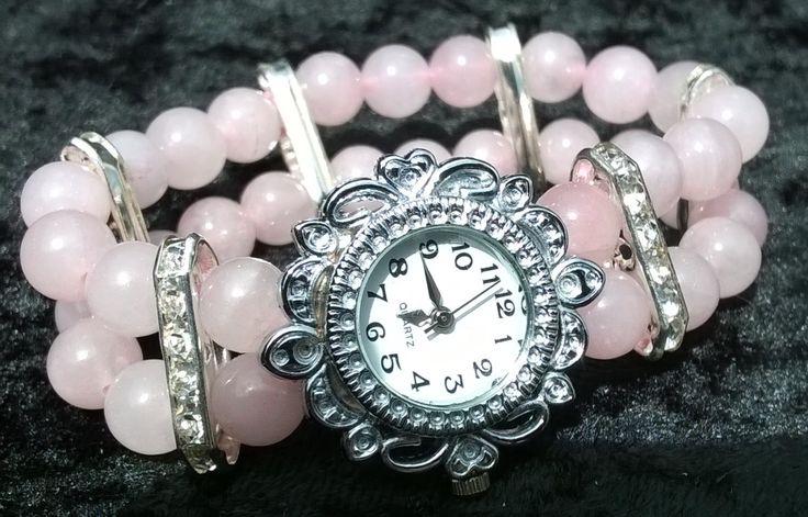OOAK Pink Rose Quartz Watch by LittleBowBeads on Etsy