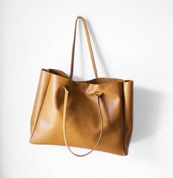 S$200.38 plus $40 shipping / Camel Brown Leather Shopper / Nappa Leather Handbag / Leather