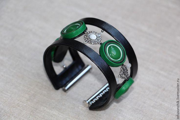 """Купить Браслет из кожи """"Летний"""" с жадеитом! - зеленый, зеленый браслет, зеленый камень, жадеит"""