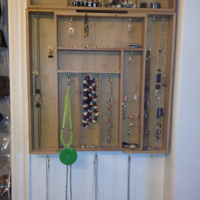Silverware tray turned into a jewelry holder