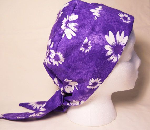 Daisies on Purple Chemo Hat / Tie BackChemo Hat / by SamBabyStudio