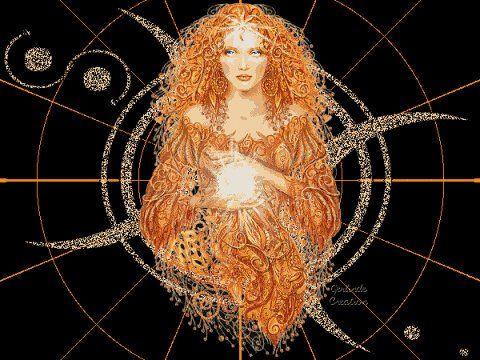 Brigid, nella mitologia celtica, protettrice dei poeti, dei guaritori, dei druidi,