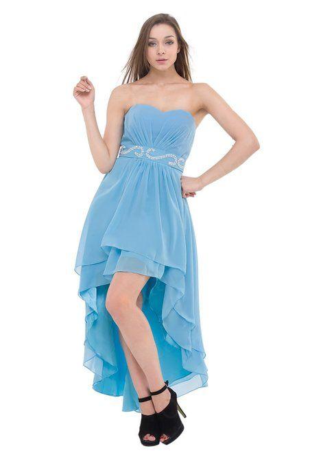 Moonar Chiffon Asymmetrical Strapless Prom Gown Wedding Dress Clearance