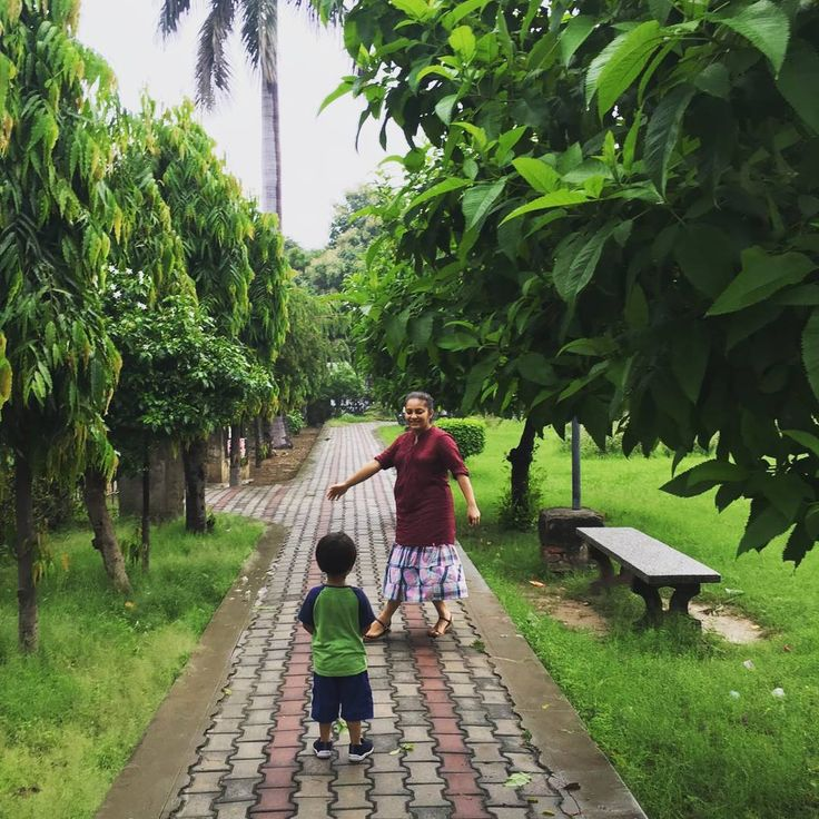 Lush and green after a rainy day, what a respite from the intense heat and humidity #lucknow #park #mom #toddler