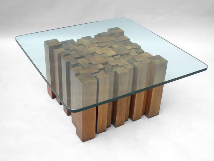For Sale On   Stacked Wood Glass Top Coffee Table In The Style Of Paul  Evans For Directional. Square (base) X Tall X Square X Thick (glass Top)
