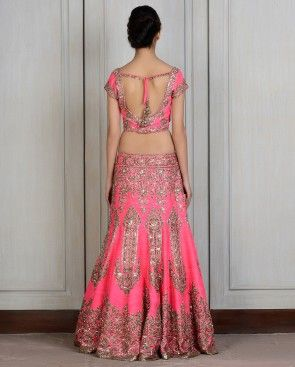 Fuschia Embroidered Raw Silk Lengha