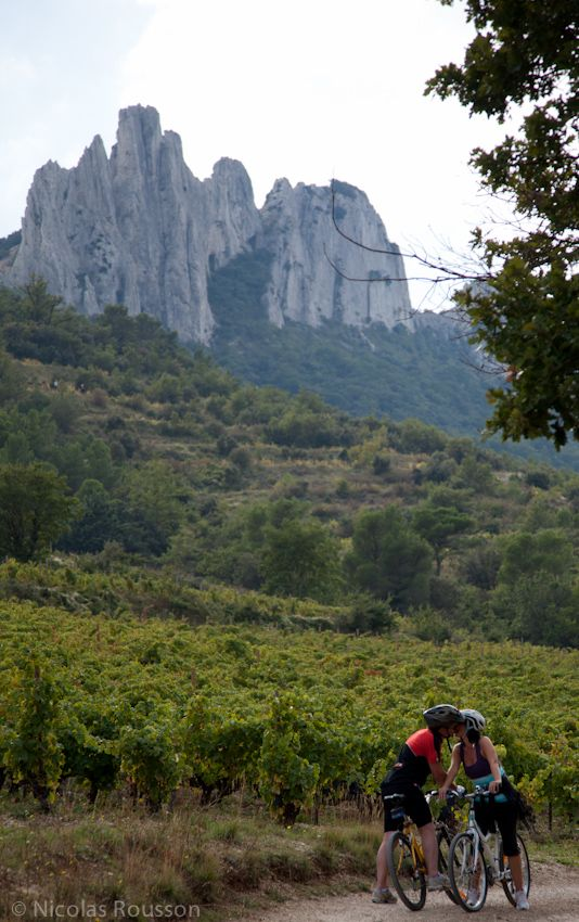 Lovers biking in the Dentelles de Montmirail