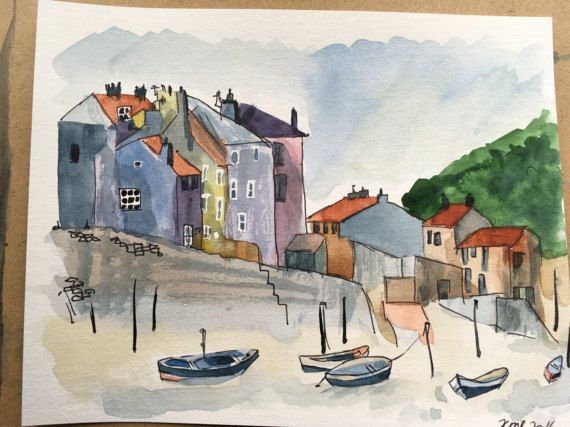 Staithes harbour watercolour by KnottyThistle on Etsy