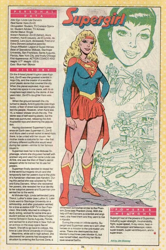 """Supergirlis aSuperheroappearing incomic books published byDC Comicsand related media. The character was created by writerOtto Binderand designed by artistAl Plastino. Going by the real nameKara Zor-El, Supergirl is the biological cousin and female counterpart to DC Comic's Iconic SuperheroSuperman, created by writer Jerome Siegeland designed by artistJoseph Shuster. The Supergirl character first appeared in a story published inAction Comics#252 (May 1959) titled """"The Supergirl…"""