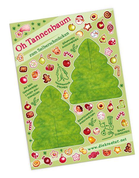 *Ein kleiner Weihnachtsbaum zum selber schmücken!* Adventsstimmung  auf dem Küchentisch, dem Schreibtisch, im Büro oder zuhause. http://de.dawanda.com/product/38220909-Bastelbogen-Oh-Tannenbaum ______________ #DIY #bastelbogen #papertoy #weihnachten #christmas #christmastree #weihnachtsbaum