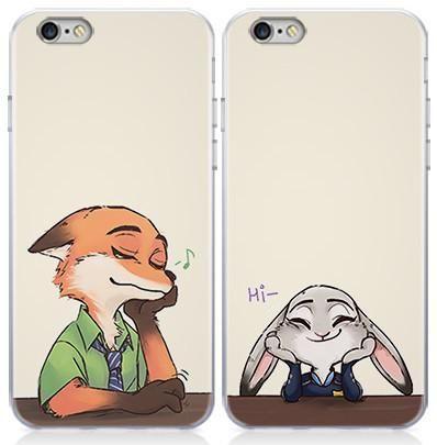 Kawaii Zootopia Couple Phone Cases Fox Nick and Bunny Judy Hopps 1