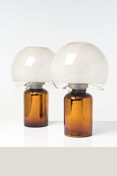Luigi Caccia Dominioni; Glass and Brass Table Lamps, c1970.