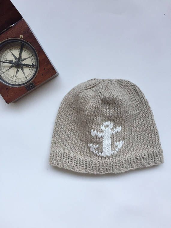 Knitted baby hat with anchor baby boy baby girl hat beige