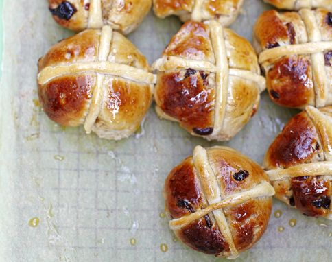 [Jamie Oliver's Hot Cross Buns].  The cross-bread was eaten by pagan Saxons in honor of Easter, their goddess of light. The Mexicans and Peruvians are shown to have had a similar custom. The custom, in fact, was practically universal, and the early Church adroitly adopted these pagan practices, grafting it on to the Eucharist and so giving us the hot crossbun.