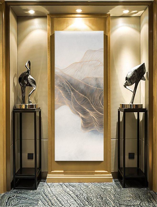 Modern art paintings entrance hallway hotel lobby European and American style dress ...