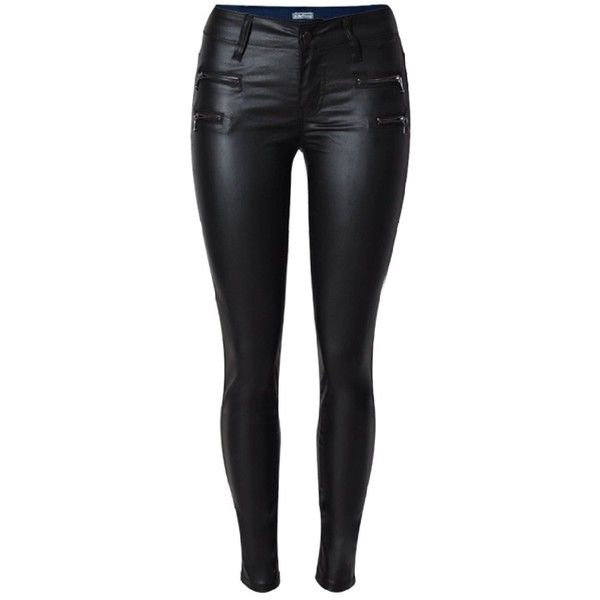 Women Black Faux Leather Wax Coated Low Rise Stretch Slim Fit Denim... ($29) ❤ liked on Polyvore featuring jeans, slim fit denim jeans, slim jeans, stretch skinny jeans, stretchy jeans and stretch jeans